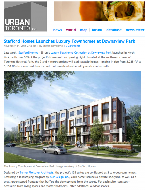 Stafford Homes Launches Luxury Townhomes At Downsview Park
