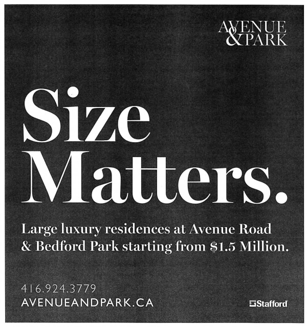 Avenue & Park Ad in the Globe & Mail